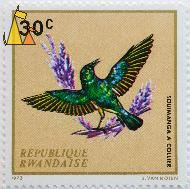 Collared Sunbird, Republique Rwandaise, Rwanda, stamp, bird, 1972, J Van Noten, 30 c, Souimanga a collier, Hedydipna collaris