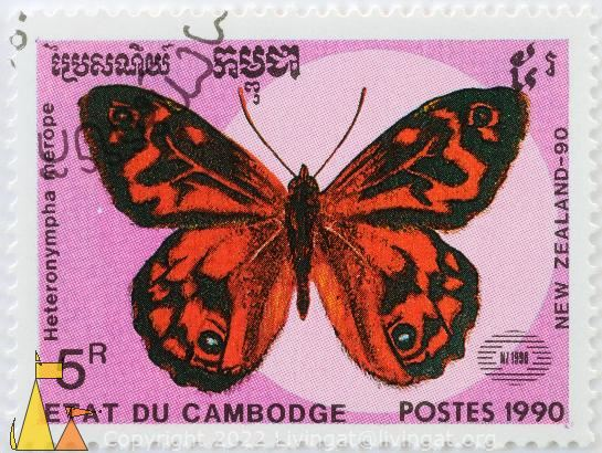 Common Brown in Red, Etat du Cambodge, Cambodia, stamp, insect, butterfly, NZ 1990, New Zealand-90. Postes, 1990, 5 R, Heteronympha merope