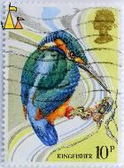 Common Kingfisher, UK, stamp, bird, kingfisher, 10 p, Queen Elizabeth II, Alcedo atthis