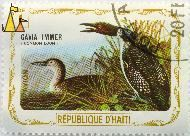 Common Loons, Republique D'Haiti, Haiti, stamp, bird, 1 Gourde, Gavia immer, Avion