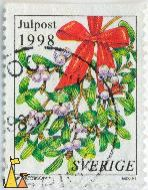 Common Mistletoe, Sverige, Sweden, stamp, julpost, 1998, plant, berries, M Jacobson, Mistel, Viscum album