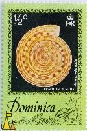 Common Sundial, Dominica, stamp, shell, ½ c, EIIR, Architectonia nobilis, Architectonica nobilis