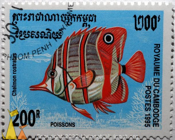 Copper-banded butterflyfish, Royaume du Cambodge, Cambodia, stamp, fish, Postes, Poissons, 1995, 200 R, Chelmon rostratus, Phnom Penh