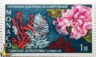 Corals, Monaco, stamp, underwater, coral, Exploration Scientifique dela Mediterranee, Decembre, 1974, 1.10, Comission Internationale, P. Lambert