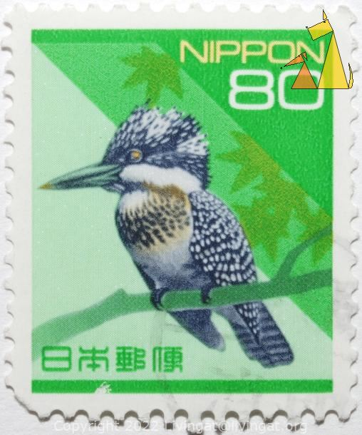 Crested kingfisher, Nippon, Japan, stamp, bird, 80, Megaceryle lugubris