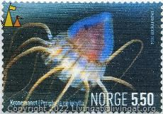 Crown Jellyfish, Norge, Norway, stamp, 5.50, Enzo Finger, 2004, Konemanet, Periphylla periphylla, jellyfish