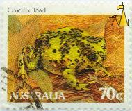 Crucifix Toad, Australia, stamp, reptile, frog, toad, 70 c, Notaden bennettii