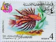 Dragon Fish, The Mutawakalite Kingdom of Yemen, Yemen, stamp, coat of arms, fish, 4 Bogashi, Pterois volitans