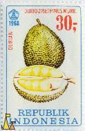 Durian, Republik Indonesia, Indonesia, stamp, plant, fruit, 1968, 30, Durian, Durio zibethinus, Murr
