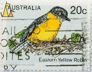 Eastern yellow robin, Australia, stamp, bird, K Breeden Williams, Eastern yellow robin, 20 c, Eopsaltria australis, RBA