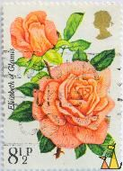 Elisabeth of Glamis, UK, stamp, plant, flower, rose, 8½ p, Elizabeth of Glamis, Rosa spp