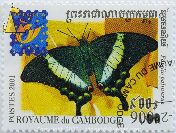 Emerald Swallowtail, Royaume du Cambodge, Cambodia, stamp, insect, butterfly, Postes, 2001, Belgica, 900 R, Papilio palinurus