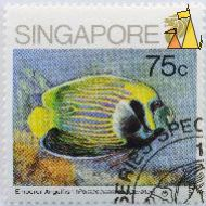 Emperor Angelfish, Singapore, stamp, fish, lion, 75 c, Pomacanthus imperator