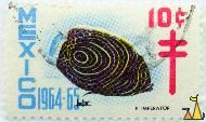 Emperor angelfish, Mexico, stamp, fish, 1964, 1964.65, 10 c, Pomacanthus imperator