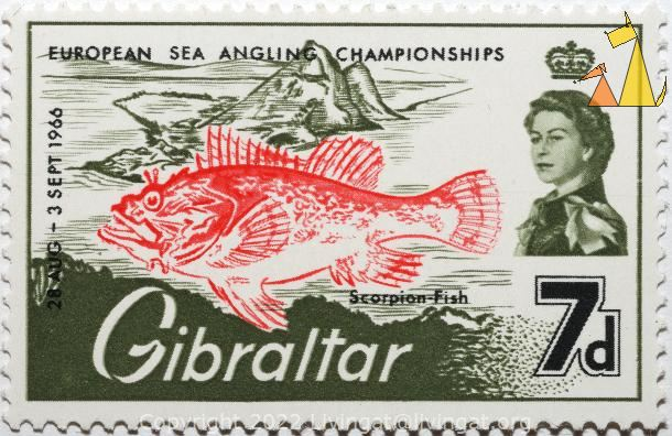European sea angling championship, Gibraltar, stamp, fish, 28 Aug, 7 d, 2 Sept, 1966, European sea angling championship, Scorpion fish, Queen Elizabeth