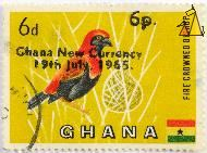 Fire Crowned Bishop, Ghana, stamp, bird, yellow, flag, 6 d, 6 p, Euplectes hordeaceus