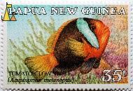 Fire clownfish, Papua New Guinea, stamp, fish, Tomato clownfish, Amphiprion melanopus, 35 t