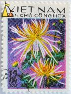 Flower on purple, Viêt Nam, Vietnam, stamp, plant, flower, Bach mi, 12 xu, Buu Chinh, Dan chu chong hoa