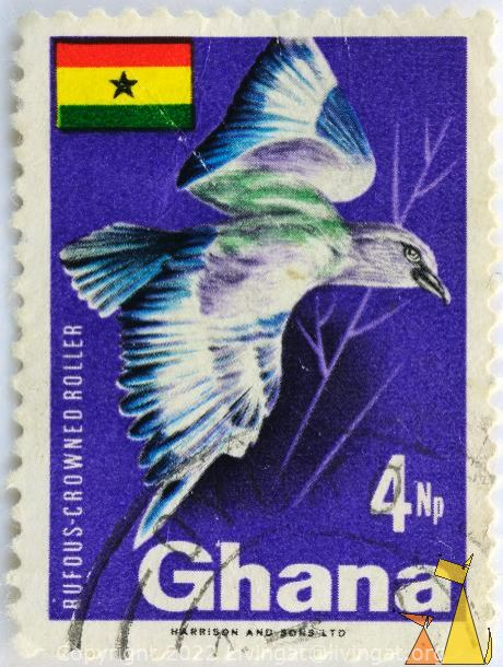 Flying Roller, Ghana, stamp, blue, flag, 4 Np, Harrison and Sons Ltd, bird, Coracias naevia, Coracias naevius