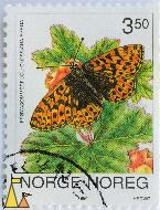Freija on Cloudberry, Norge, Noreg, Norway, stamp, flower, insect, butterfly, Hedvig, 1994, 3.50, Rubus chamaemorus, Frøyasommerfugl, Clossiana freija, Boloria freija