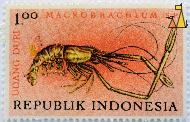 Freshwater shrmip, Republik Indonesia, Indonesia, stamp, shripm, lobster, 1.00, Udang duri, Macrobrachium sp, Macrobrachium spp