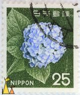 From the top, Nippon, Japan, stamp, plant, flower, 25