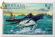 Game fishing, Grenadines, Grenada, stamp, fish, ½ c, Biggame fishing, a hooked Sailfish, Istiophorus albicans, Sail-fish