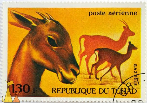 Gazelle, Republique du Tchad, Chad, stamp, mammal, poste, aerienne, 130 F, yellow
