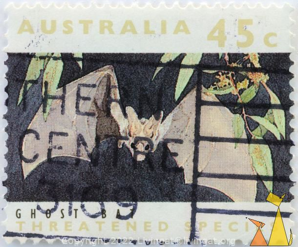 Ghost Bat, Australia, stamp, mammal, bar, 45 c, threatened species, Macroderma gigas