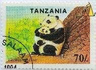 Giant Mother, Tanzania, stamp, mammal, Ailurus fulgens, mother, 70, 1994, Ailuropoda melanoleuca