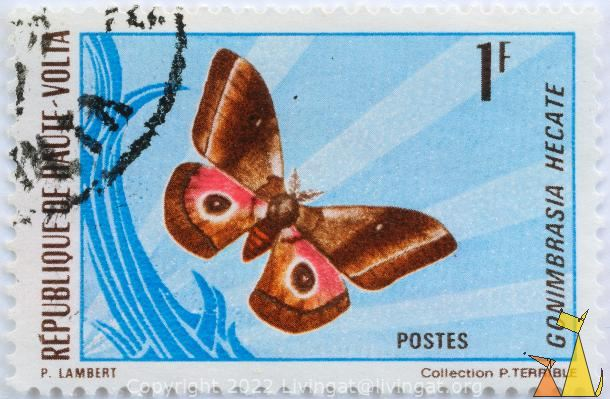 Giant Silk Moth, Republique de Haute-Volta, Burkina Faso, stamp, insect, butterfly, Postes, Collectiom P Terrible, P Lambert, 1 F, Gonimbrasia hecate