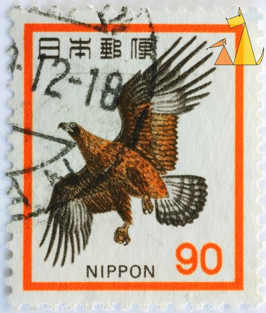 Golden Eagle, Nippon, Japan, stamp, bird, bird of prey, Aquila chrysaetos, 90