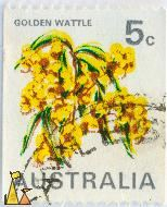 Golden Wattle, Australia, stamp, plant, tree, flower, 5 c, Acacia pycnantha