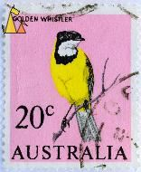 Golden Whistler on Pink, Australia, stamp, pink, bird, 20 c, Pachycephala pectoralis