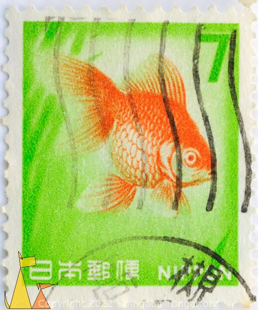 Goldfish, Nippon, Japan, stamp, fish, Carassius auratus, 7