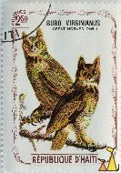 Great Horned Owl, Republique D'Haiti, Haiti, stamp, bird, 2.50 Gourdes, Bubo virginianus