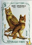 Great Horned Owl, Republique D'Haiti, Haiti, stamp, bird, 5 Gourdes, Bubo virginianus, Avion