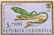 Green Crested Lizard, Republik Indonesia, Indonesia, stamp, reptile, lizard, 3+0.50, 1966, Bunglon, Calotes jubatus, Bronchocela jubata