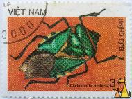 Green Stink Beetle, Viêt Nam, Vietnam, stamp, insect, beetle, 3 dt, 1986, Buu Chinh, Chalcocoris rutilans