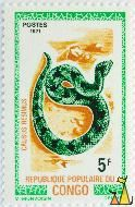 Green night adder, Republique Populaire du Congo, Congo, stamp, reptile, snake, Causus resimus, Postes, 1971, 5 F, M. Monvoisin, Delrieu, Green night adder