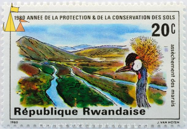 Grey Crowned Crane, Republique Rwandaise, Rwanda, stamp, bird, 1980, J Van Noten, Balearica regulorum, 20 c