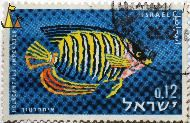 Imperial Angelfish, Israel, stamp, fish, 0.06, Imperial Angelfish, Holacanthus imperator, Pomacanthus imperator