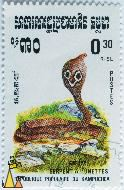 Indian cobra, Republique Populaire du Kampuchea, Cambodia, stamp, reptile, snake, Naja naja, Indian cobra, 0.30 Riel, Postes, Serpent a Lunettes, 1983