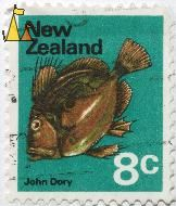 John Dory, New Zealand, stamp, fish, John Dory, Zeus faber, 8 c