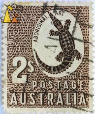 Johnston's crocodile, Australia, stamp, 2 s, reptile, crocodile, Postage, Aboriginal Art, Crocodylus johnsoni