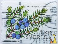Juniper berries, Sverige, Sweden, stamp, plant, spice, 1 Kr, En, Inga Karin Eriksson, 2008, Juniperus communis, berries