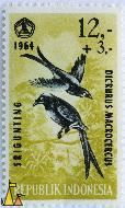 King Crow, Republik Indonesia, Indonesia, stamp, bird, 1964, 13+3, Srigunting, Dicrurus macrocercus