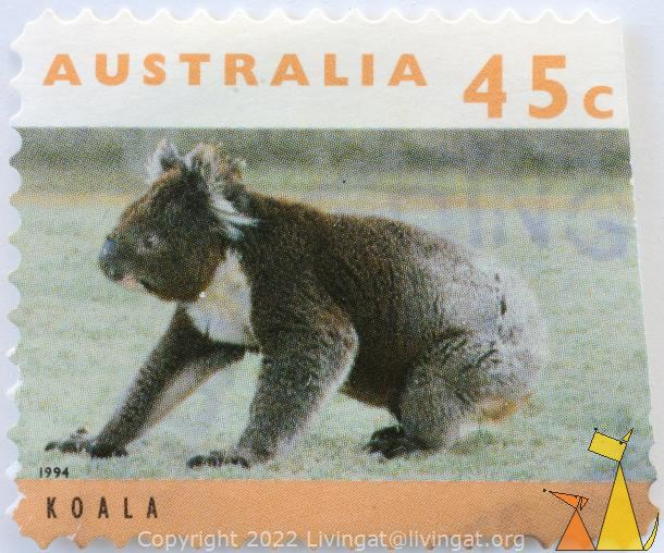 Koala on the Ground, Australia, stamp, mammal, 45 c, Phascolarctos cinereus, 1994