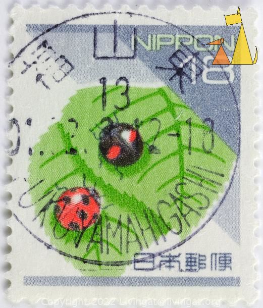 Lady bird and lady beelte, Nippon, Japan, stamp, insect, 18, Coccinella septempunctata, Chilocorus stigma