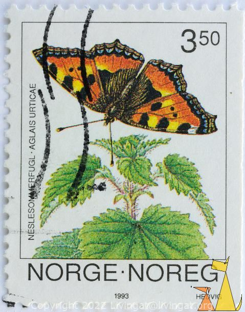 Landing Tortoiseshell, Norge, Noreg, Norway, stamp, flower, insect, butterfly, Hedvig, 1993, 3.50, Neslesommerfugl, Aglais urticae, Urtica dioica